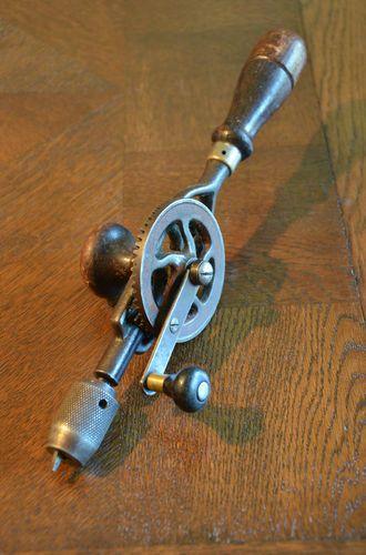 VISIT US! Vintage Hand Drill Woodworking Carpentry Tool Egg Beater Old Wheel Gear Turning #vintagetools #handdrill #carpentry