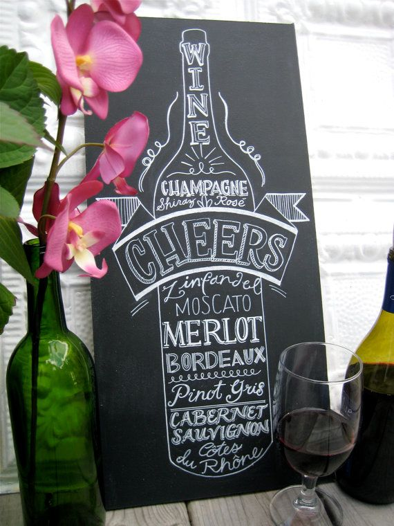 kitchen chalkboard art wine lover old vintage style