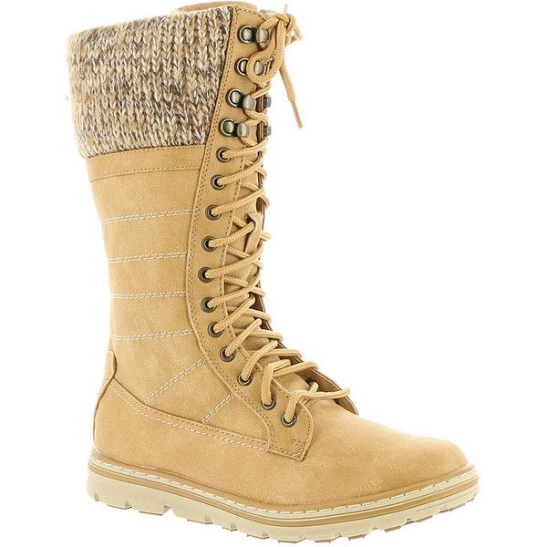 Cliffs By White Mountain Kerrigan Women's Tan Boot ($60) ❤ liked on Polyvore featuring shoes, boots, knee-high boots, tan, tan shoes, mid-heel boots, traction shoes, mid heel knee high boots and mid-heel shoes