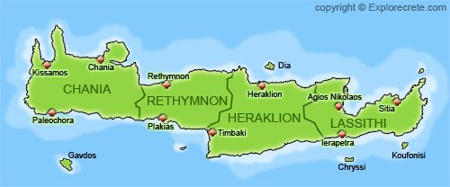 n this page you will find various maps of Crete. You will also find detailed maps of the main towns and cities in Crete: Heraklion, Chania, Rethymnon, Agios Nikolaos and Sitia. Some of the maps are very big files, so they will take a long time to download with a simple modem connection.