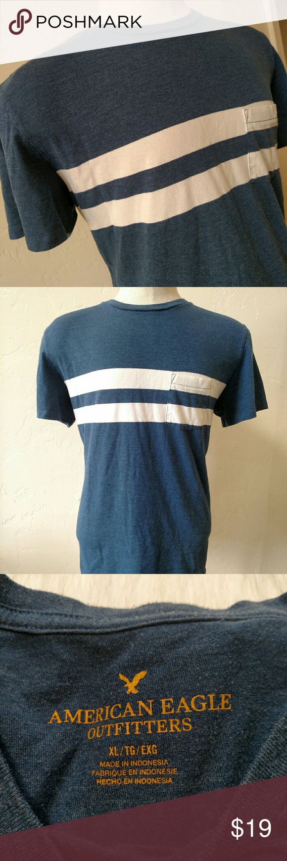 American Eagle t shirt XL Used but good condition pocket t shirt.  Navy with white stripe.  Pops enough for style, subtle enough to not be loud. American Eagle Outfitters Shirts Tees - Short Sleeve