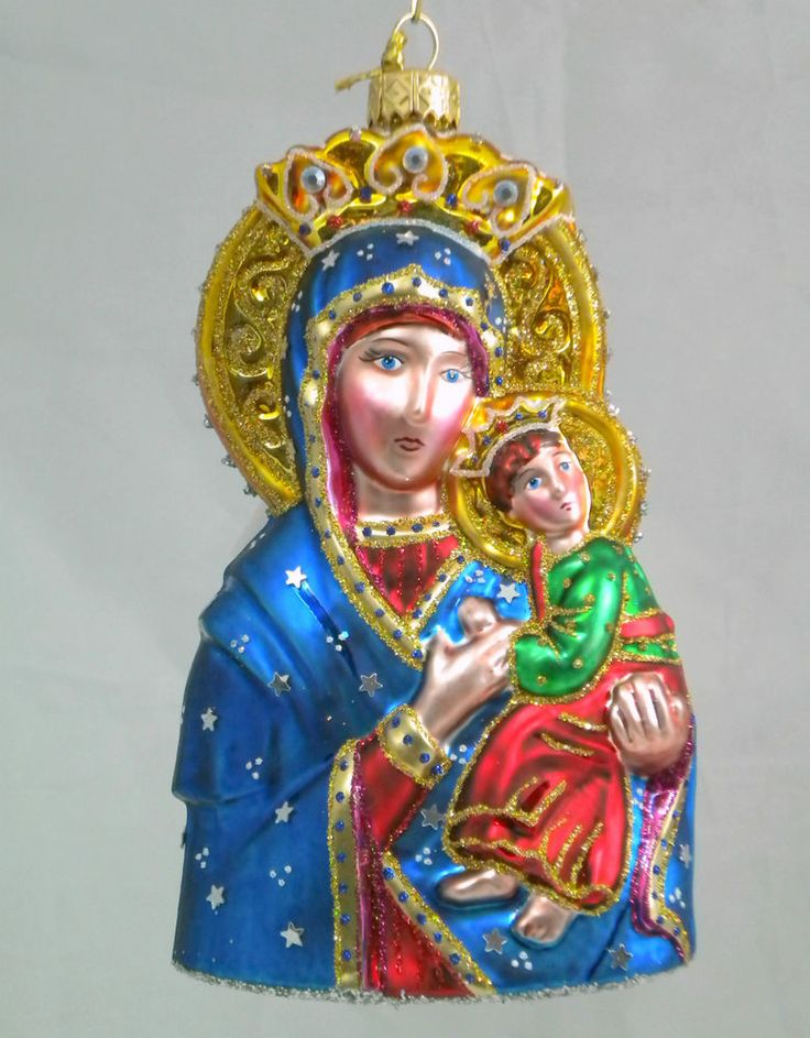 """Edward Bar OUR LADY OF PERPETUAL HELP 6.10"""" glass Christmas Ornament Hand-made"""