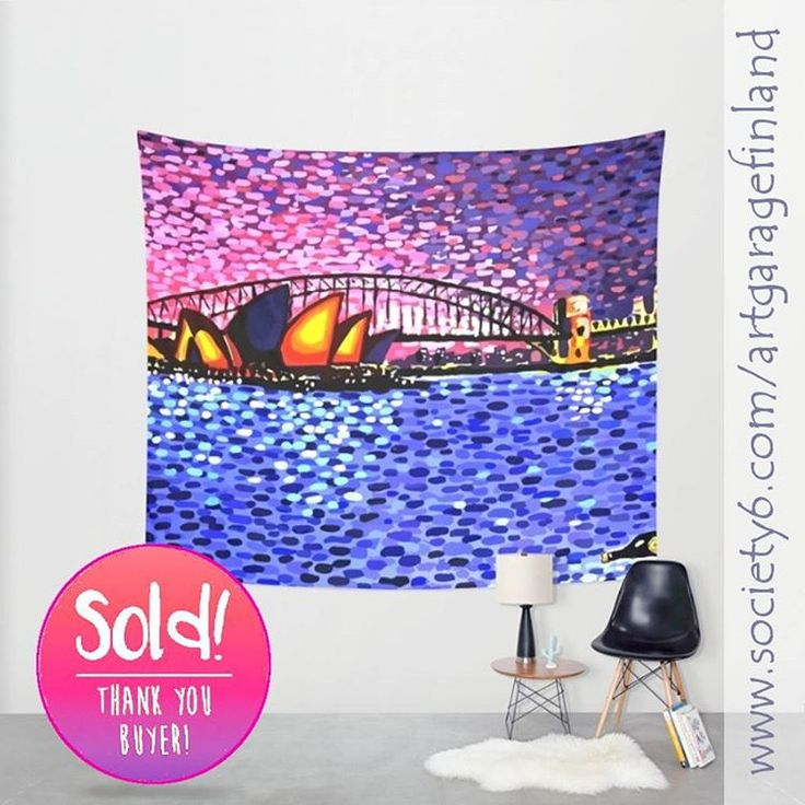 """Sold!..thanks to the kind person who bought this 68""""×80"""" 'Sydney Harbour' tapestry design from my Society6 webstore. @society6 #instapic #aussie #art #s6tapestry #sydneyoperahouse #sydneyharbour #instasydney #oz #instaart #artist #artistsofinstagram #sydney #nagohnala #hoganfinland #dots #australia #instalike #instalikes #konst #taide #wallart #arte #kunst #artcollection #artcollectors #gallery #instaaustralia #society6 #homedecor #interiordesign"""