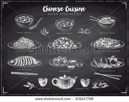 Vector hand drawn illustration with chinese food. Sketch. Chalkboard.