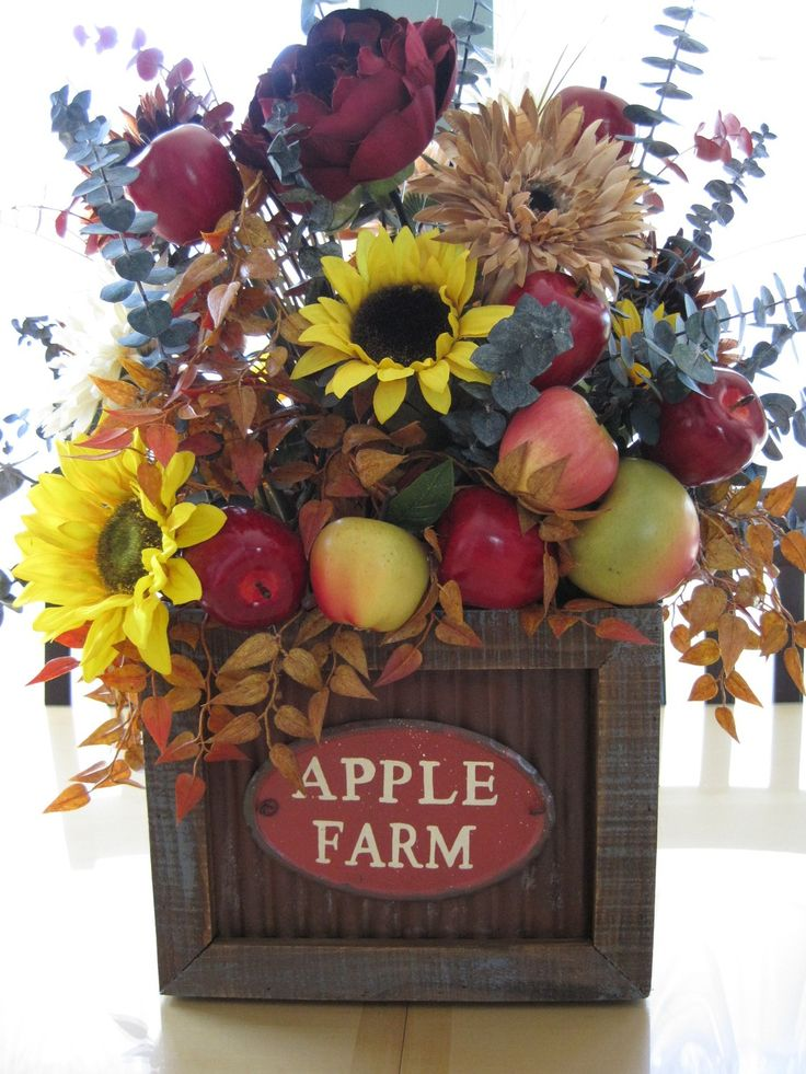 APPLE FARM - Everyday FALL Country Primitive Kitchen Floral Arrangement Centerpiece via Etsy.