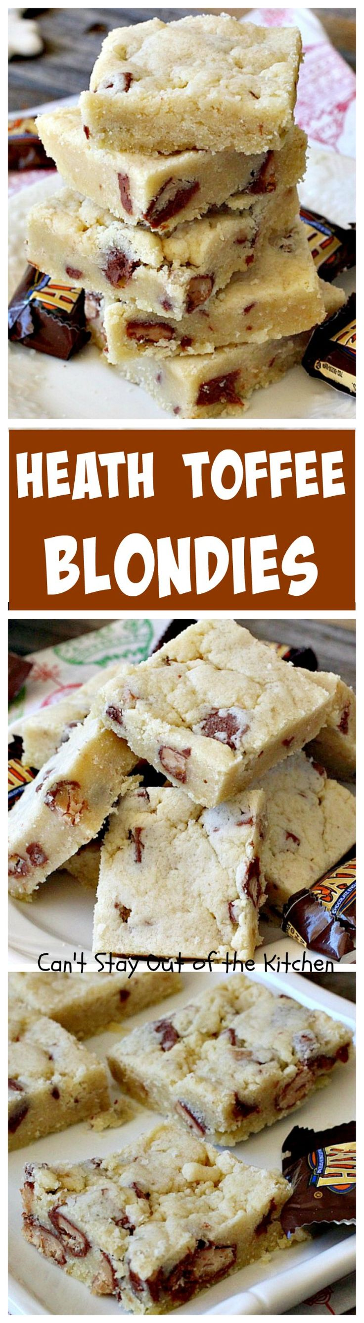 Heath Toffee Blondies | Can't Stay Out of the Kitchen | these amazing #cookies use #HeathToffeeBars so they're filled with #chocolate & #toffee. So, so good! #dessert