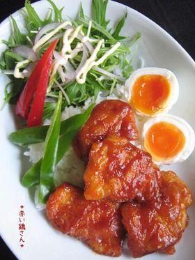 ketchup glazed chicken thighs 簡単10分【赤い鶏さん】ランチにも♪ (chicken thighs)