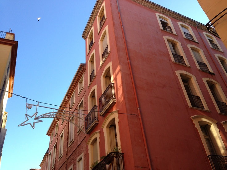 Perpignan architecture in the south of France at Rue des 3 Journees