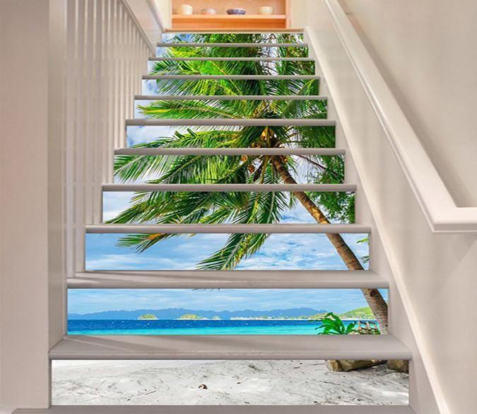 3d Beach Coconut Trees 1026 Stair Risers Aj Wallpaper Stairs Stair Risers Stair Decor