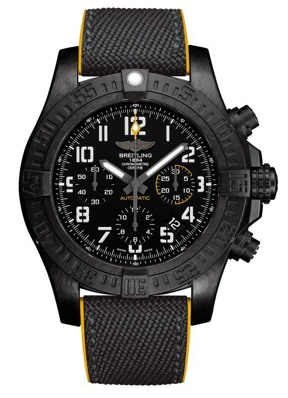 The new 45-mm @breitling Avenger Hurricane with black Dial.  Driving the watch's timekeeping, date display, and 1/4-second chronograph functions is Breitling's tried-and-true Caliber B01.  More @ http://www.watchtime.com/wristwatch-industry-news/watches/breitling-avenger-hurricane-now-available-in-45-mm-case/ #watchtime #breitling #chronograph