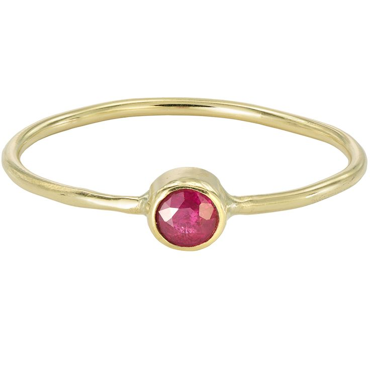 This dainty stacking ring in 18k gold displays a genuine Burmese ruby. Its vivid red and raspberry colour are powerful. The ruby stone stands true to its origin, Burma (Myanmar), where the best ruby mines in the world are still to be found. Real ruby in all its splendour.