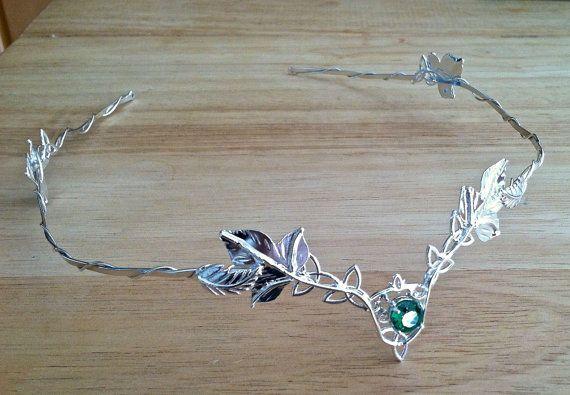 Celtic Wedding Circlet, Bridal Circlet, Headpiece, Celtic Trinity Knot Woodland Leaf Circlet, Gemstone, Handmade, Sterling Silver