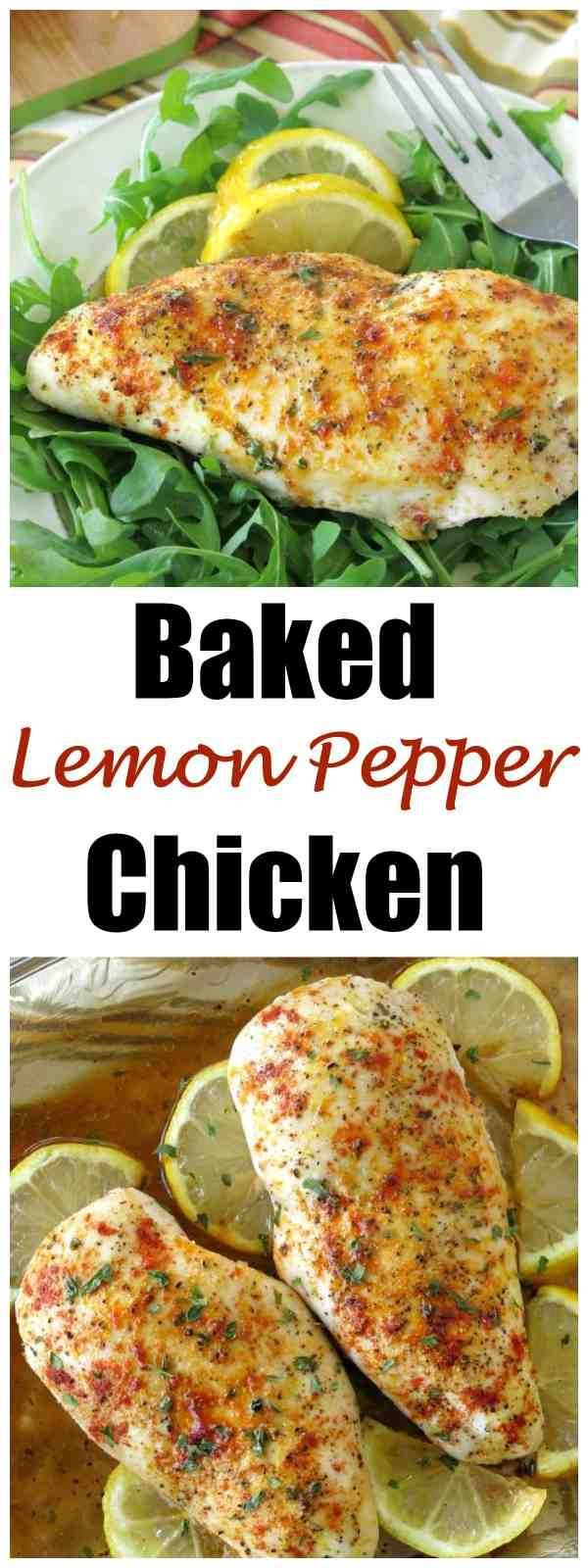 Baked Lemon Pepper Chicken Breast Recipe is healthy, low-carb and the perfect for cooking once, eating twice! #lemonchicken #lowcarbrecipes #cleanRecipes #ChickenRecipes #dinnerideas