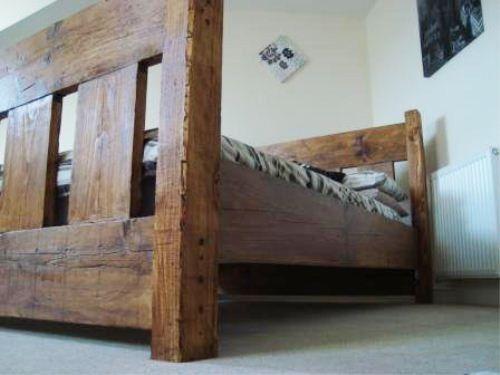 handmade chunky rustic reclaimed wood plank king size bed light oak finish