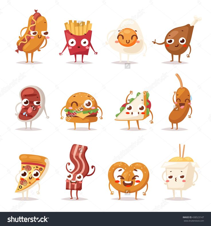 Fast Food Colorful Emoticon Face Flat Design Icons Set. Emoticon Fast Food Funny…