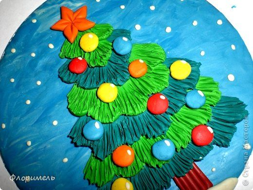 Картина панно рисунок Мастер-класс Новый год Аппликация из пластилина + обратная Лепка Ёлочка 2 варианта Пластилин фото 1