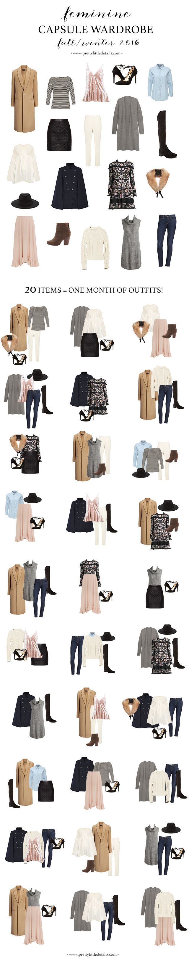 How to create a stylish capsule wardrobe filled with minimalist, feminine clothes.  All the basics you need plus the best of fall 2016 trends!
