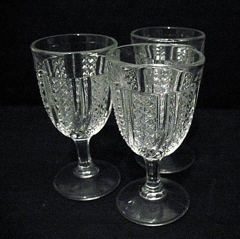EAPG 3 Small  Wine Glasses McKee Glass Feather Swirl