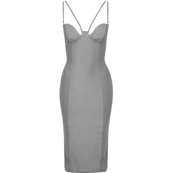 Strappy Cut-Out Midi Dress by Rare ($71) ❤ liked on Polyvore featuring dresses, grey, body con dress, grey midi dress, bodycon dress, metallic dress and grey cocktail dress