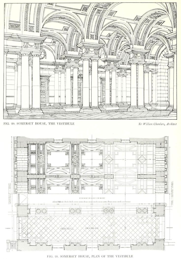 Perspective Rendering And Plan Of The Vestibule Of The Somerset House London Architecture Mapping Architecture Drawing Urban Design Plan