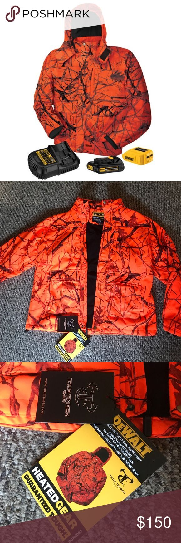 DEWALT hunters heated jacket w/battery+charger NWT DeWalt DCHJ063C1-XL Extra Large 20V/12V MAX Blaze Camo Heated Jacket Kit. 🦆🦌🦃 NWT!   INCLUDES: • DCB201 20V MAX* Li-Ion Battery (1.5Ah), Fast Charger, DCB091 Power Source/USB Adaptor FEATURES: Battery20V/12V MAX Heat Zones: 4, L/R chest, mid-back, and collar Settings: High, Med, Low + Pre-Heat Quiet, wind & water resistant, 7 pockets, Removable hood Hours of core body warmth and continuous heat Battery adaptor includes battery fuel gauge…