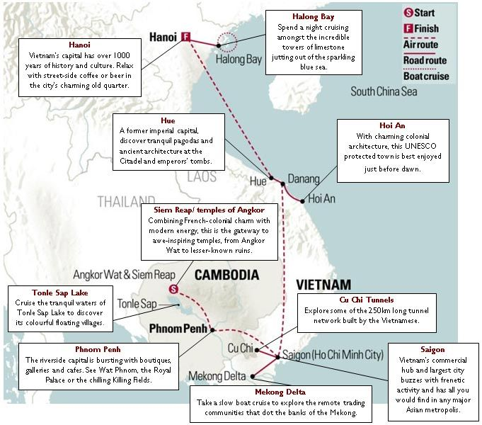 Vietnam and Cambodia Map and two-week Itinerary         | Insider Journeys
