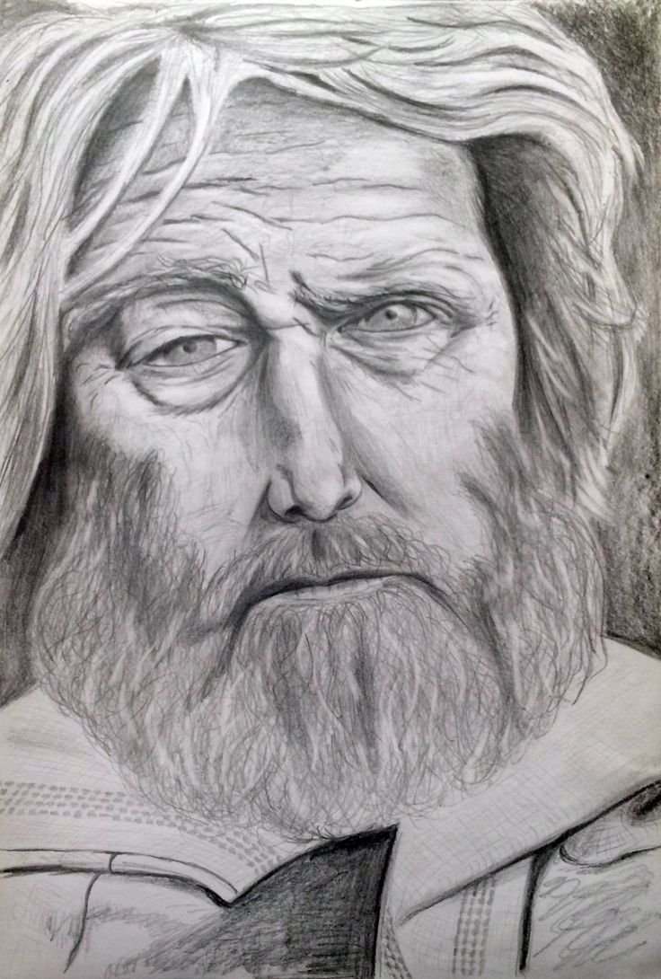 Old man face. Pencil A4 size drawing.