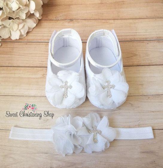 White Eyelet Lace Christening Shoes