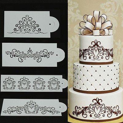 4pcs pizzo fiori torta nuziale Stencil Set fondente lato stampo decorazione DIY