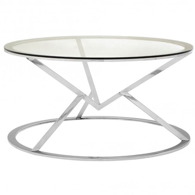 Silver Allure Round Coffee Table Round Coffee Table Glass
