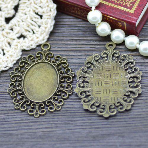 10X-Antique-Bronze-Tone-Oval-Lace-Glass-Base-Cabochon-Setting-Tray-Pendant-DIY