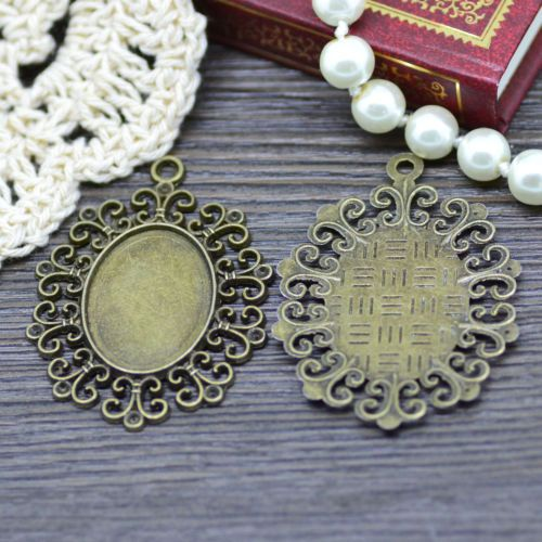 10X-Antique-Bronze-Tone-Oval-Lace-Glass-Base-Cabochon-Setting-Tray-Pendant-DIY