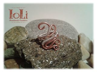 Mid finger ring with copper and silver plated wire - Δαχτυλίδι mid finger με χάλκινο και επάργυρο σύρμα - https://www.facebook.com/IoLiHandmadeCreations/