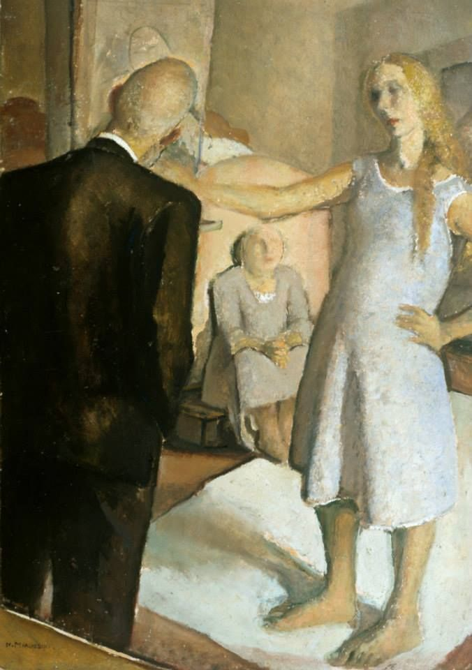 Nella Marchesini  Self-portrait at the easel with parents, 1925-1928
