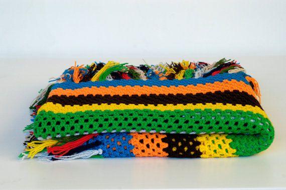 French vintage afghan crochet blanket multicoloured by BOULOTDODO via www.boulotdodo.com