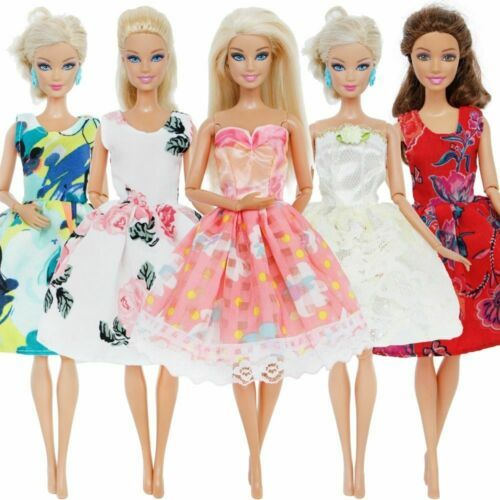 BARBIE Clothes Style Dress Daily Casual Wear Lace Wedding Party Princess 5PCS