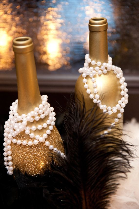 Art Deco - Roaring Twenties - Vintage - Great Gatsby Wedding - Gold Glittered Wine Bottles Wow Your Guests w/these Embellished Bottles [5]