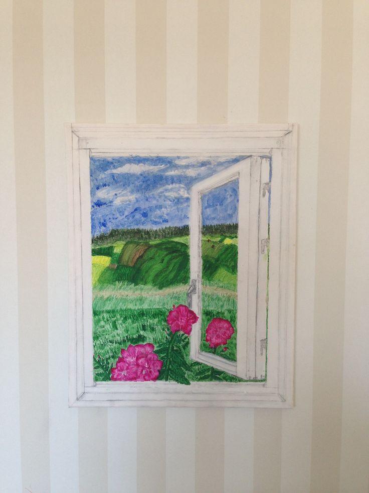 Fönster till friheten - Akryl på canvas  Alice Bassem