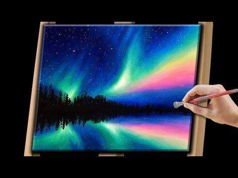 Aurora Borealis with nebula with stars   Easy First Acrylic painting for beginners,#clive5art - YouTube