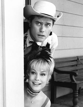 """I Dream of Jeannie"" Larry Hagman, Barbara Eden circa 1967"