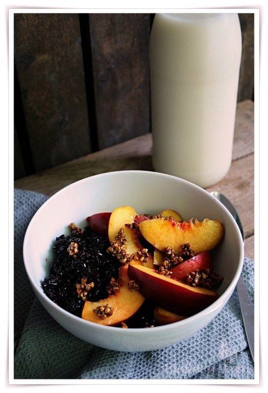 Vegan Black Vanilla Rice with Nectarine and Buckwheat Brittle