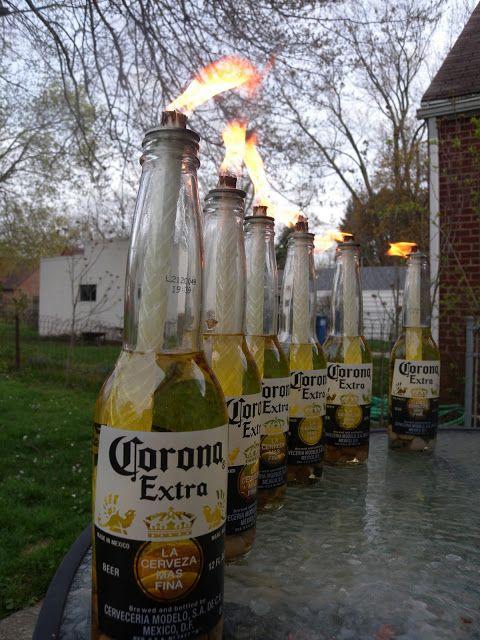 Best 25 wine bottle torches ideas on pinterest bottle for Diy beer bottle tiki torches