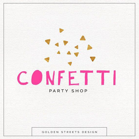 Custom Party Logo , Faux Gold Confetti , Modern Logo Design , Fun Logo Perfect For Your Business!