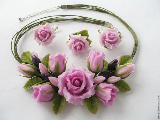 """Комплекты украшений ручной работы. Ярмарка Мастеров - ручная работа. Купить """"Розовые розы"""", холодный фарфор. Handmade. Розовый"""