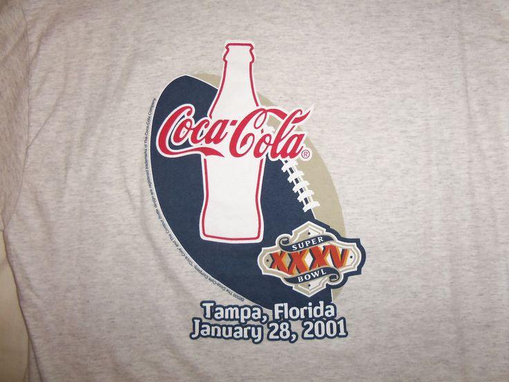 NFL Super Bowl XXXV 2001 Baltimore Ravens Tampa, Florida Coca-Cola T Shirt - XL #Hanes