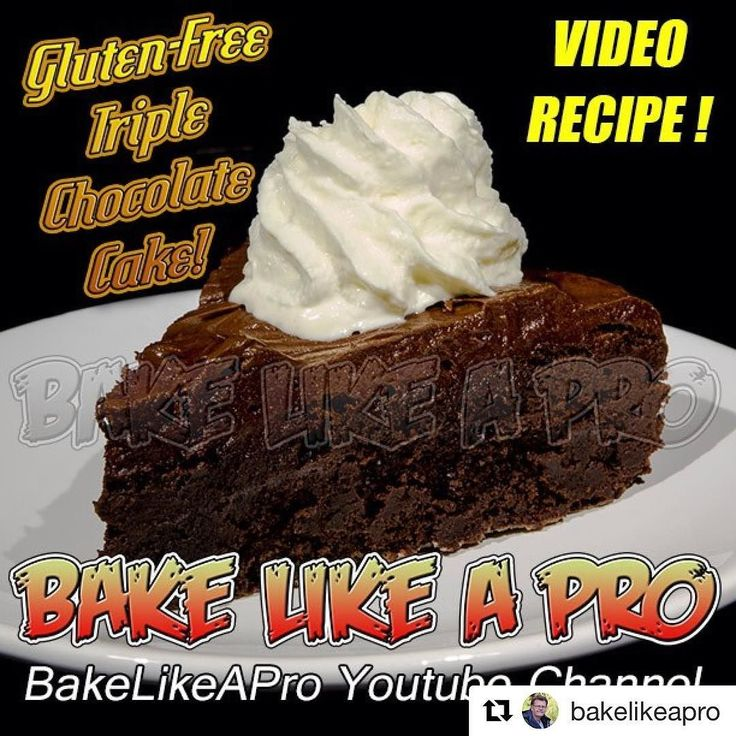 #Repost @bakelikeapro (@get_repost)  Gluten-Free Triple Chocolate Cake Watch this video recpe here: http://youtu.be/vMSh3bMX53Y  Triple Chocolate Gluten-Free Chocolate Cake Recipe !  Yes ! a gluten-free chocolate cake with not 1 type of chocolate but 3 chocolates !  You WILL impress your friends with this cake if not I'll come to your house and bake it for you :-) This cake is so good you will never ever guess it has NO flour in it ! I use cocoa powder chocolate chips and to top it off a…