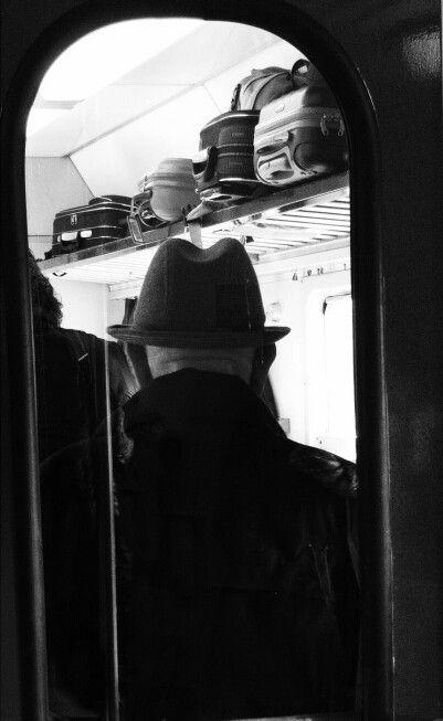 #train #people #blackandwhite #oldman #hat #luggage #travel