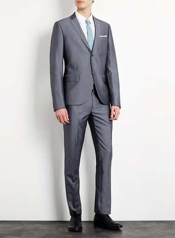 Grey Blue Tonic Skinny Suit