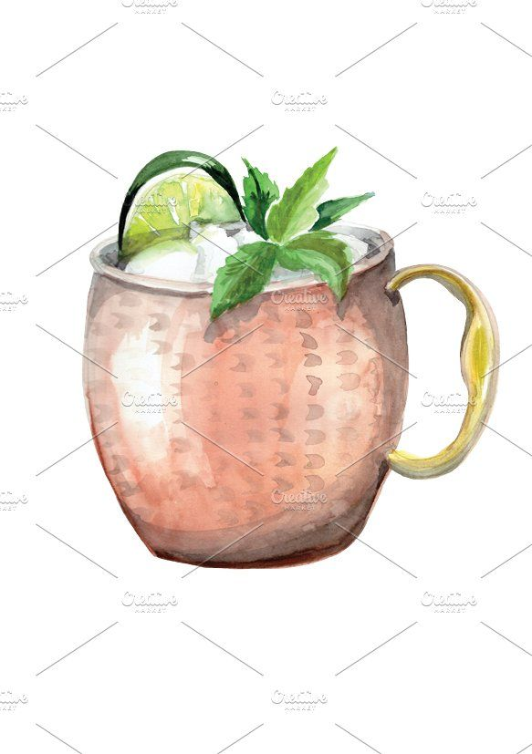 Watercolor Moscow Mule Drawing Acuarela Cocteles