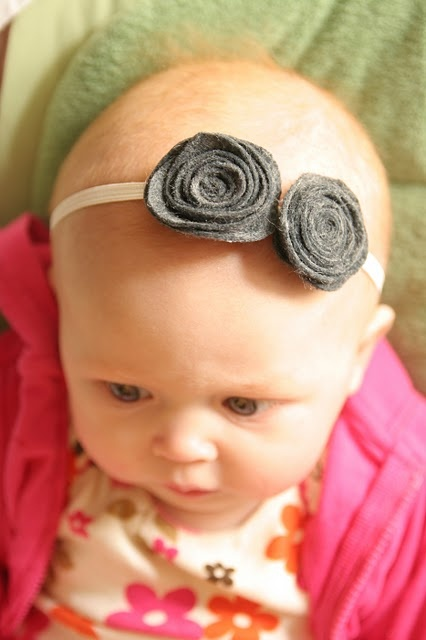 I love the skinny band headbands so it doesn't take up her whole face!